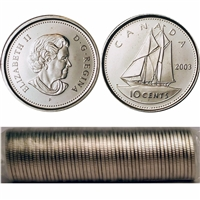 2003-P New Effigy Canada 10-cent Original Roll of 50pcs