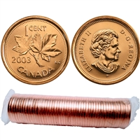 2003-P New Effigy Canada 1-cent Original Roll of 50pcs