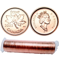 2003-P Canada Old Effigy 1-Cent Original Roll of 50pcs.