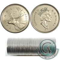 2003-P Canada Old Effigy 25-cent Original Roll of 40pcs
