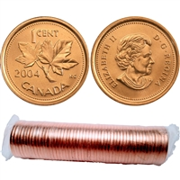 2004 no P Canada 1-cent Original Roll of 50pcs (some rolls may be double headed)