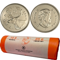2004-P Canada Caribou 25-Cent Original Roll of 40pcs.