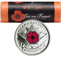2004-P Canada Coloured Poppy 25-Cent Original Roll of 40pcs.