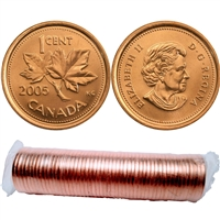 2005 no P Canada 1-Cent Original Roll of 50pcs