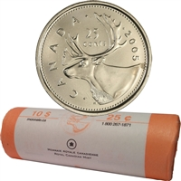 2005-P Caribou Canada 25-Cent Original Roll of 40pcs.