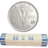 2005P Canada VE Day (Victory) 5-Cents Original Roll of 40pcs.