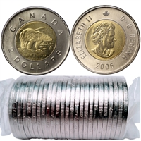 2006 Canada Two Dollar Polar Bear Roll of 25pcs (No Mint Logo, Date on Bottom)