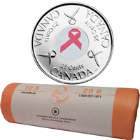 2006-P Canada Pink Ribbon 25-Cents Original Roll of 40pcs