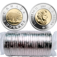 2007 Canada Two Dollar Polar Bear Original Roll of 25pcs