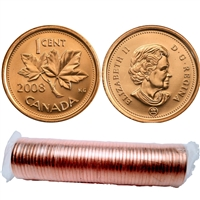 2008 Canada 1-Cent Original Roll of 50pcs (some may be double headed)