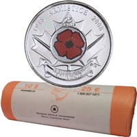 2008 Poppy Canada 25-Cents Original Roll of 40pcs
