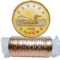 2008 Canada Regular Loon Dollar Roll of 25pcs
