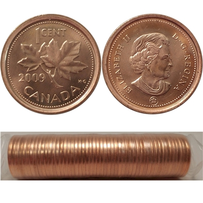 2009 Canada Non-Magnetic 1-Cent Canada Original Roll of 50pcs