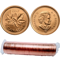 2010 Canada 1-Cent Original Roll of 50pcs (non-magnetic) Could be double headed on end of roll.