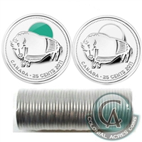 2011 Bison Canada 25-Cents Original Roll of 40pcs - Some Coloured