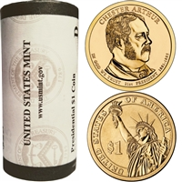 2012 US Presidential Dollar - Chester Arthur D - Original Roll of 25pc