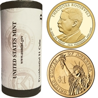 2013 US Presidential Dollar - Theodore Roosevelt P - Roll of 25pcs