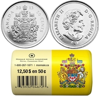 2013 Canada 50-cent Special Wrap Roll of 25 pieces.