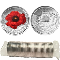 2015 Poppy Canada 25-Cent Original Roll of 40pcs (some coloured)