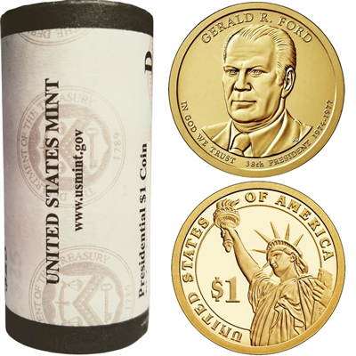 2016 US Presidential Dollar - Gerald Ford D - Original Roll of 25pcs