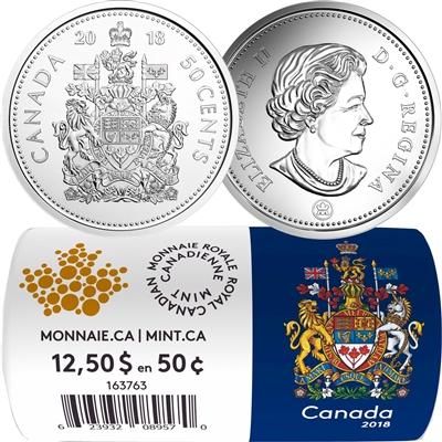 (Pre-Order) 2018 Canada 50-cent Circulation Coin Roll of 25pcs