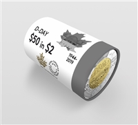 2019 Canada $2 Non-Coloured D-Day Special Wrap Roll of 25pcs