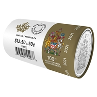 2021 Canada Special Wrapped 50-cent Roll (Regular Coat of Arms)