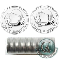 2011 Bison Canada 25-Cents Original Wrapped Roll of 40pcs Non Coloured