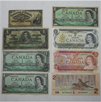Starter Pack of Canadian Paper Notes with 7 Notes in Album!