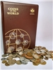 142 Pocket Coins of the World Brown Vinyl Album & 1lb World Coins