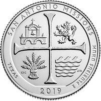 2019 D San Antonio Missions (Texas) USA National Parks Quarter Brilliant Uncirculated (MS-63)