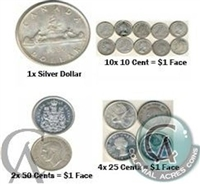 1966 & Prior Scrap Canadian Silver (80% Pure Silver) - Mixed - Price is per dollar