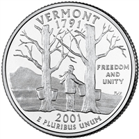 2001-P USA Statehood Quarter - Vermont Brilliant Uncirculated (MS-63)