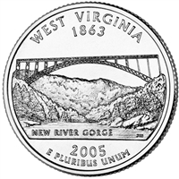 2005-P West Virginia USA Statehood Quarter Brilliant Uncirculated (MS-63)