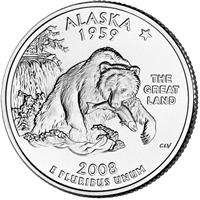 2008-P Alaska USA Statehood Quarter Brilliant Uncirculated (MS-63)