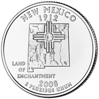 2008-D New Mexico USA Statehood Quarter Brilliant Uncirculated (MS-63)