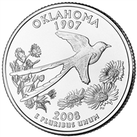 2008-P Oklahoma USA Statehood Quarter Brilliant Uncirculated (MS-63)