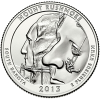 2013 D Mount Rushmore USA National Parks Quarter Brilliant Uncirculated (MS-63)