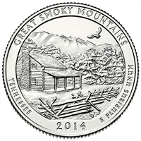 2014 P Great Smoky Mountains USA National Parks Quarter Brilliant Uncirculated (MS-63)