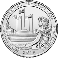 2019 P American Memorial (N. Mariana Is.) USA National Parks Quarter BU (MS-63)
