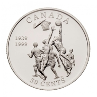 1999 Canada 50-cent Invention of Basketball Sterling Silver (Impaired)