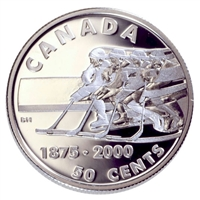 2000 Canada 50-cent First Recorded Hockey Game Sterling Silver Coin (Impaired)
