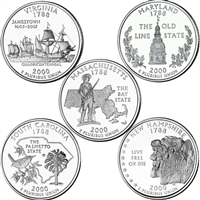 2000 USA Statehood Quarter 10-coin Set - Both P&D Mint Singles
