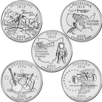 2002 USA Statehood Quarter 10-coin Set - Both P&D Mint Singles