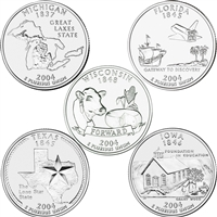 2004 USA Statehood Quarters 10-coin Set - Both P&D Mint Singles