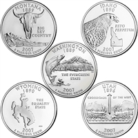 2007 USA Statehood Quarter 10-coin Set - Both P&D Mint Singles