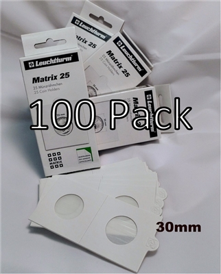 100 x Self-Adhesive Cardboard 2x2 Holders (50c/$2 size) 30mm (4 boxes)