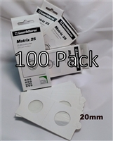 100 x (4 boxes) Self-Adhesive Cardboard 2x2 Holders - 1ct/10ct size - 20mm.