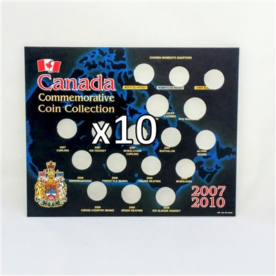 10 x Empty 2007-2010 Canada Olympic Black Board (25ct & Dollars) Square