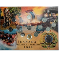 1999 Canada Millennium Board with all 12x 25cts and Nunavut $2 (NWMP) w/coins